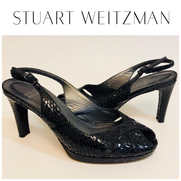 Stuart Weitzman Shoes - Stuart Weitzman Snakeskin Slingback Heels Sz 6